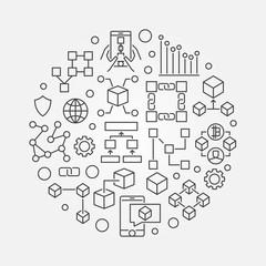 Blockchain concept circular vector line symbol