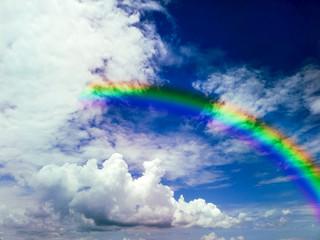 rainbow heap cloud and clear blue sky