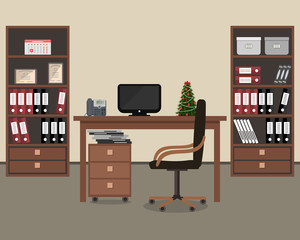 Workplace of office worker. There is a table, a chair, two cabinets with folders and other objects in the picture. On the table is a small Christmas tree. Vector flat illustration