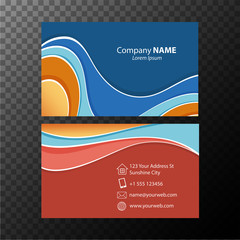 Businesscard template with blue and orange colors