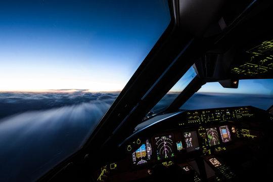 Airliner Cockpit in Flight
