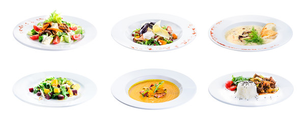 Set of delicious classic dishes. Autumn menu in an Italian restaurant isolated on white background