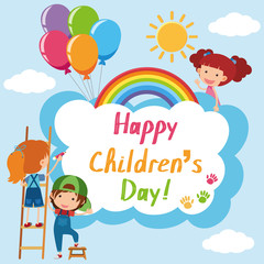 Happy Children's day poster with kids in sky
