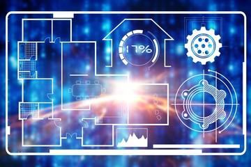 Composite image of digital composite image of blueprint