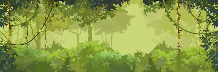 background cartoon green leafy forest with lianas