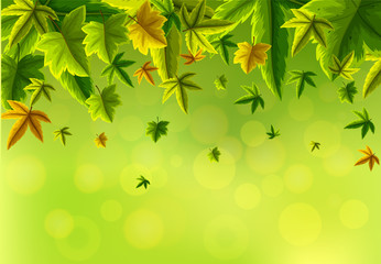 Background design with green leaves falling