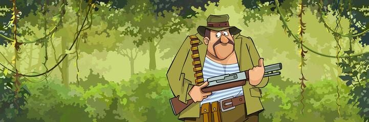 cartoon man hunter with a gun walking through the forest