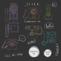 Vector telephones set.