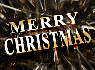 Golden Merry Christmas text with caustics