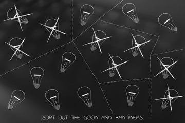 groups of lightbulbs divided by dashed lines and some crossed out, sort the good and bad ideas