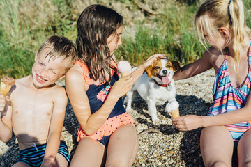 Three children eating icecream and playing with dog on the beach