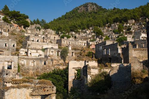 View of abandoned houses at village Kayakoy near Fethiye,Turkey
