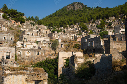 View of abandoned houses at village Kayakoy near Fethiye