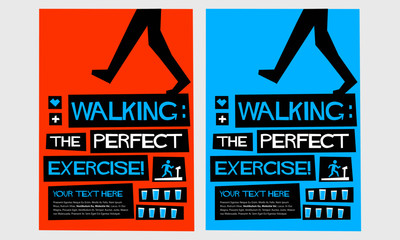 Walking: The Perfect Exercise! (Flat Style Vector Illustration Health Quote Poster Design) With Text Box