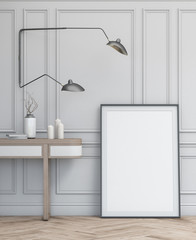 Interior design simple scene with frame. Modern scandinavian interior. 3d render studio.