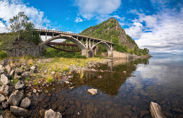 View of the bridge over the river Shabartui, Circum-Baikal railway