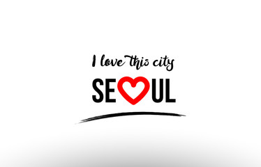 seoul city name love heart visit tourism logo icon design
