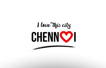 chennai city name love heart visit tourism logo icon design