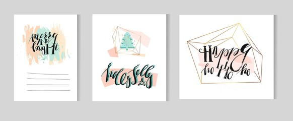 Hand drawn vector abstract artistic Christmas and New Year greeting template collection card set with modern ink calligraphy phases,christmas tree in gold terrarium in pastel colors.