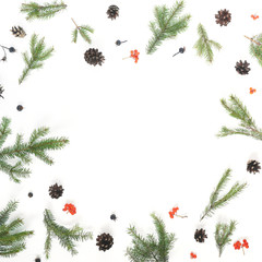 Pattern of Christmas tree branches, cones on white background, top view. New Year, christmas background, frame. Flat design.
