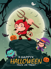 Vintage Halloween poster design with vector vampire, demon, witch character.