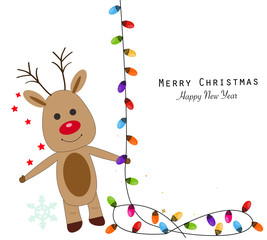 Deer with colorful light bulbs. Merry christmas and happy new year greeting card