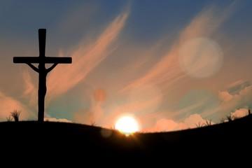 Cross religion symbol shape over sunset sky