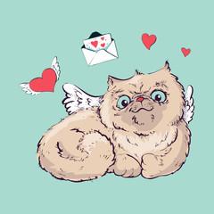 Angel cat vector illustration graphics.