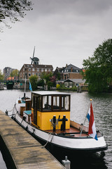 A canal boat in Haarlem, Netherlands