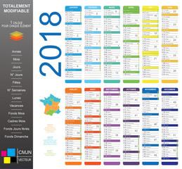 calendrier 2018 complet arrondi mois grand  MAJ Vacances printemps Zone B