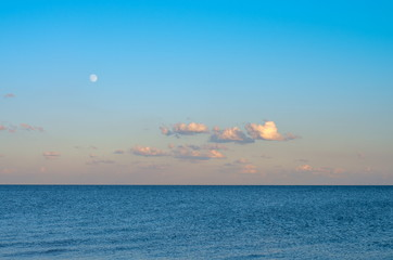 Fotomurais - evening sky with clouds and the moon on the sea. horizon