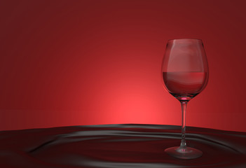 3d rendering. luxury Red wine glass on the cloth table with red gradient light background