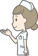 Illustration in which a female nurse wearing a white coat turns to face and hands out
