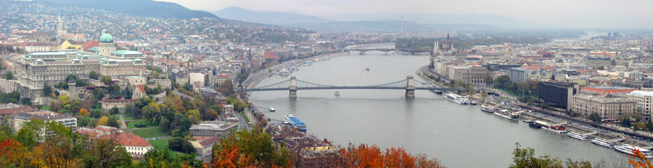 Aerial panorama of Budapest, Hungary, in the autumn.
