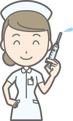Illustration that a female nurse wearing a white coat has a syringe