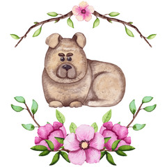 Watercolor Cartoon Dog and Fresh Spring Flowers