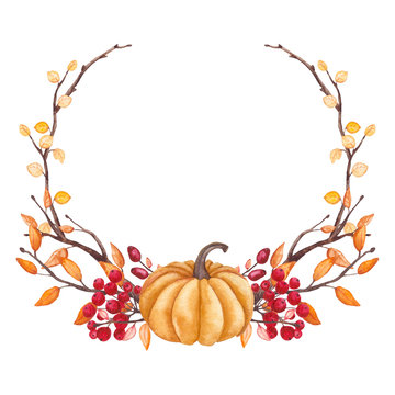 Wreath with Watercolor Pumpkin, Tree Branches and Berries