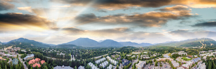 Panoramic aerial view of Whistler skyline and surrounding mountain scenario in summer