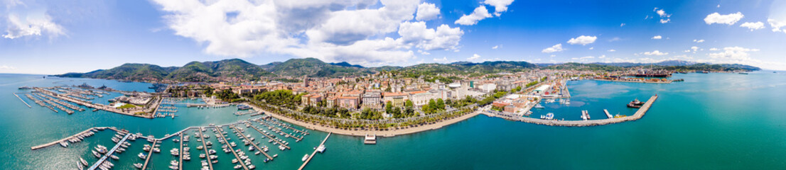 Aerial panoramic view of La Spezia Port from the Sea, Liguria - Italy