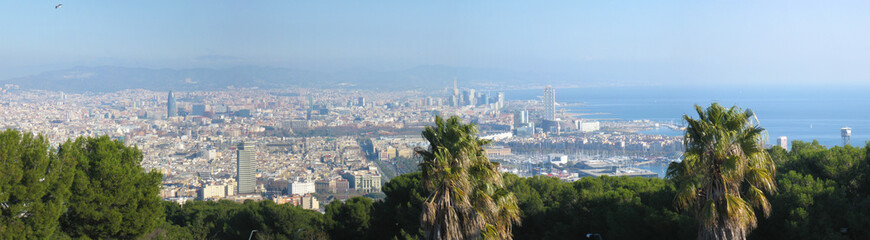 Aerial panorama image of Barcelona, Spain.