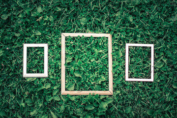Three old wooden frame on green grass background.