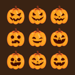 Set of Halloween pumpkins face, funny face for Halloween emoticons, Vector illustration.