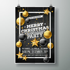 Vector Merry Christmas Party Flyer Illustration with Typography and Holiday Elements on Black background. Invitation Poster Template.