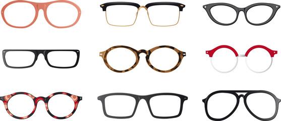 Set of realistic eyeglasses frames, EPS 8 vector illustration, no transparencies, no mesh