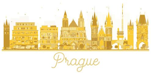 Prague City skyline golden silhouette.