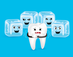 Cartoon tooth character with horror ice. Cold sensitive teeth. Dental care concept, illustration isolated on blue background.