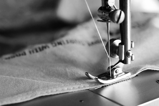 Close-up detail of the sewing machine
