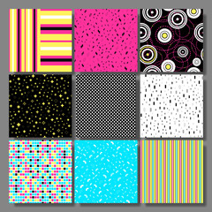 Memphis seamless background set, cards with simple geometric elements, patterns fashion trend 80-90s.