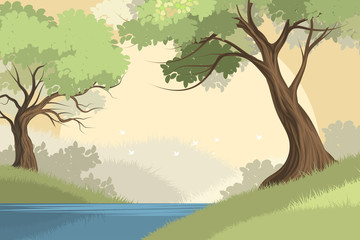 Beautiful lake and forest scene vector nature landscape background
