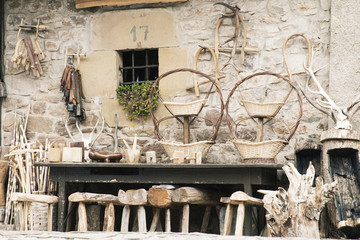 Wooden tools in country farm